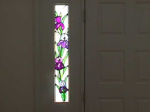 Custom Made Sidelight Stained Glass Window Of Iris