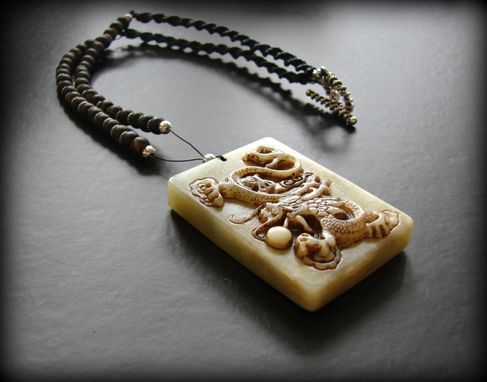 Custom Made Men'S Hemp And Jade Dragon Necklace