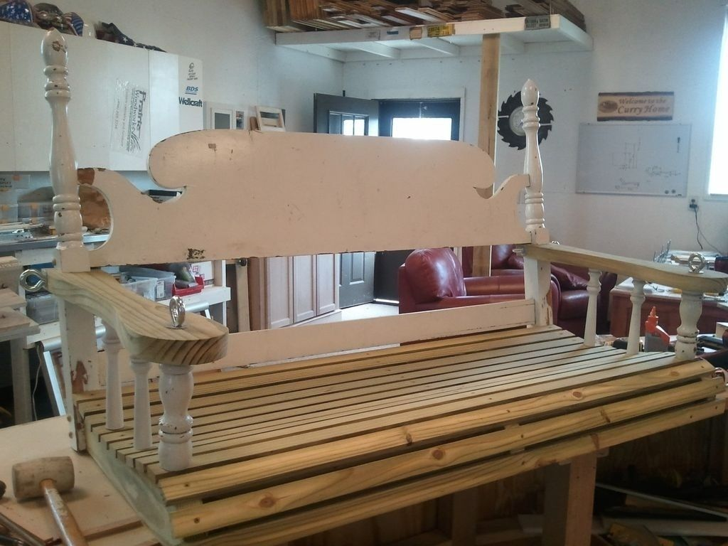 Hand Crafted Repurposed Headboard Into A Porch Swing By Prairie Woodworks Llc Custommade Com