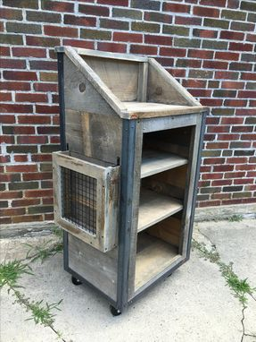 Custom Made Rustic Industrial Reclaimed Wood Hostess Stand