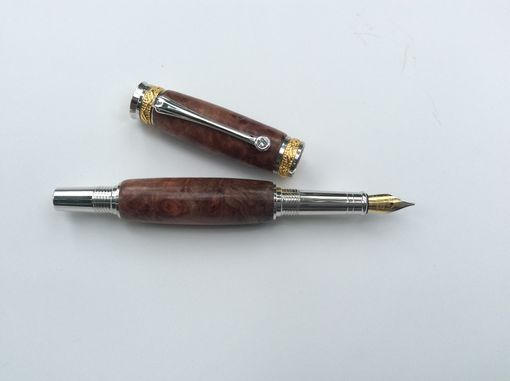 Custom Made 22kt. Gold And Rhodium Majestic Fountain Pen With Redwood Lace Burl