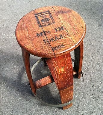 Custom Made Barrel Head Wood Stool