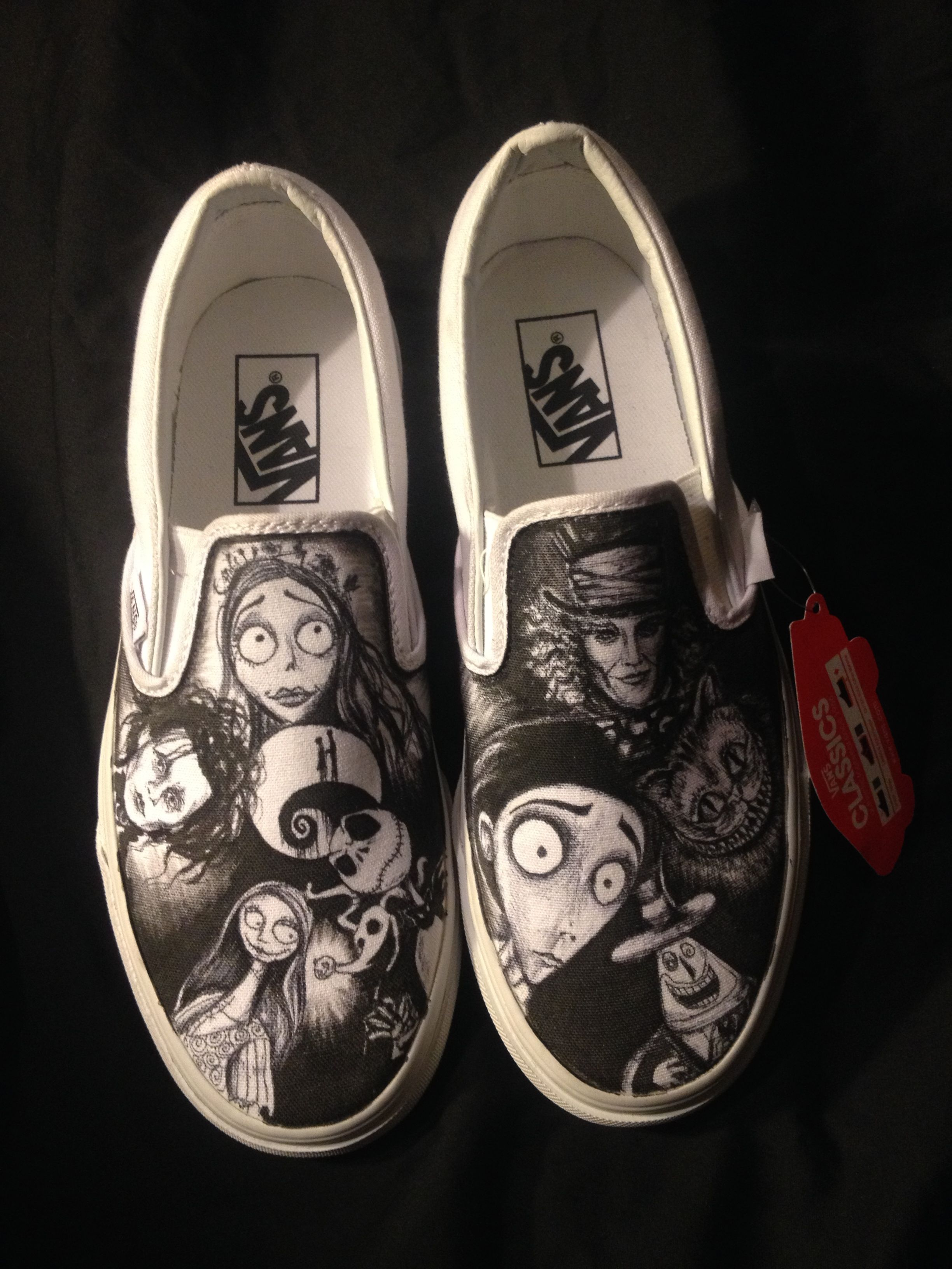 Buy Custom Hand Drawn Tim Burton Nightmare Before Christmas Shoes ...