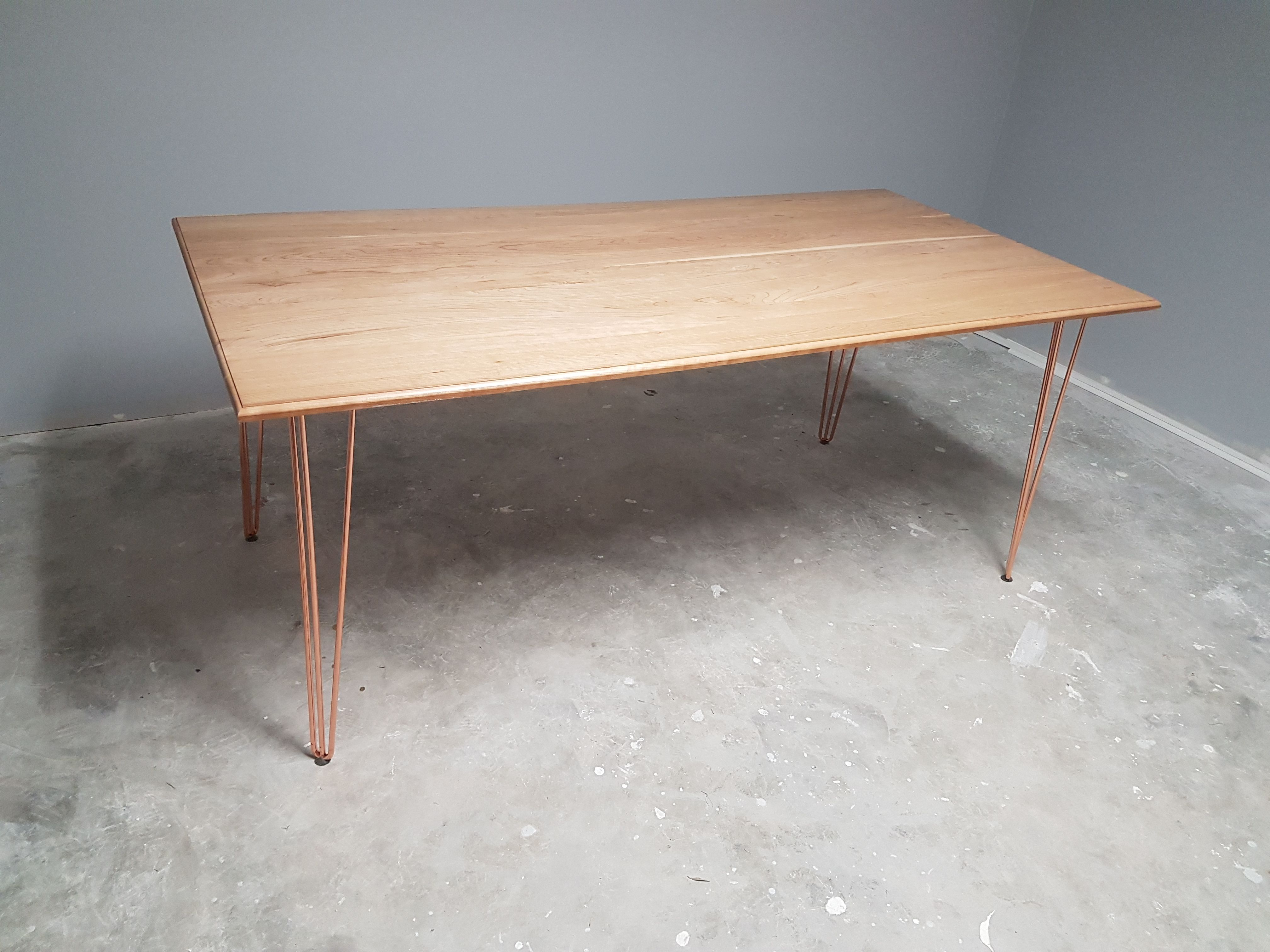 Buy Hand Made Mid Century Modern Solid Cherry Table With Copper