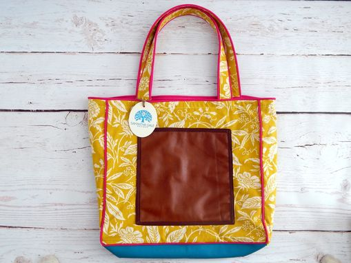 Custom Made Leather And Canvas Large Tote Bag