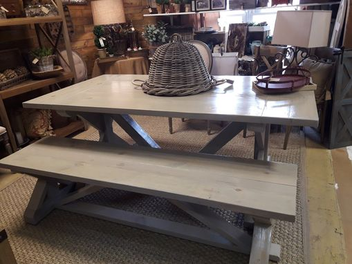 Custom Made Farm House Trestle Table And Matching Bench