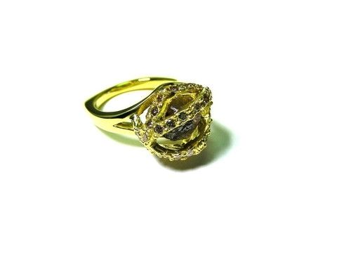 Custom Made Rough Diamond In A Cage Ring.