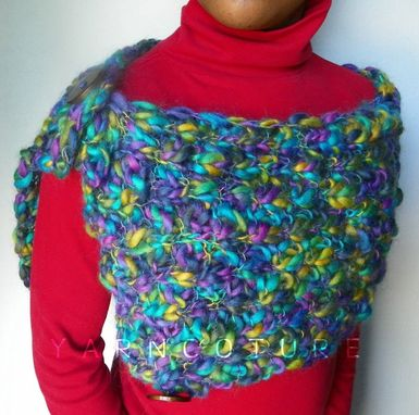 Custom Made The Peacock Shawl / Luxurious Hand Knit Mini Wrap / Cowl / Capelet - High Fashion