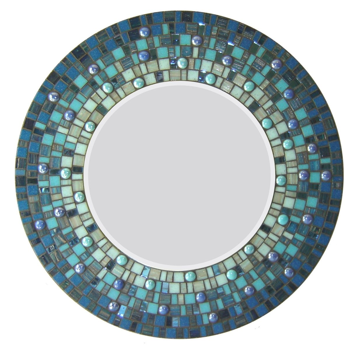 Custom Made Round Mosaic Wall Mirror Blue