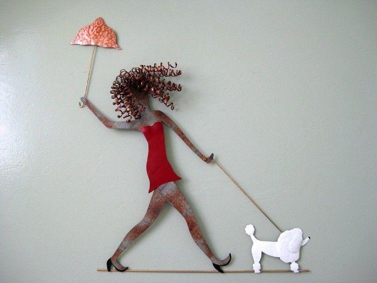 Custom Made Handmade Upcycled Metal Lady Walking Dog Wall Art ...