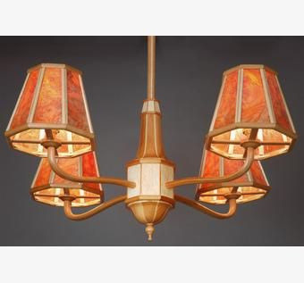 Custom Made Chandelier # 1 In Cherry, Birdseye Maple And Mica