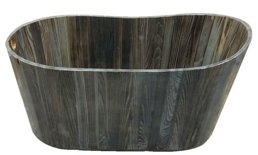Custom Made Freestanding Oval Wood Bathtub In Aged Gray Cypress
