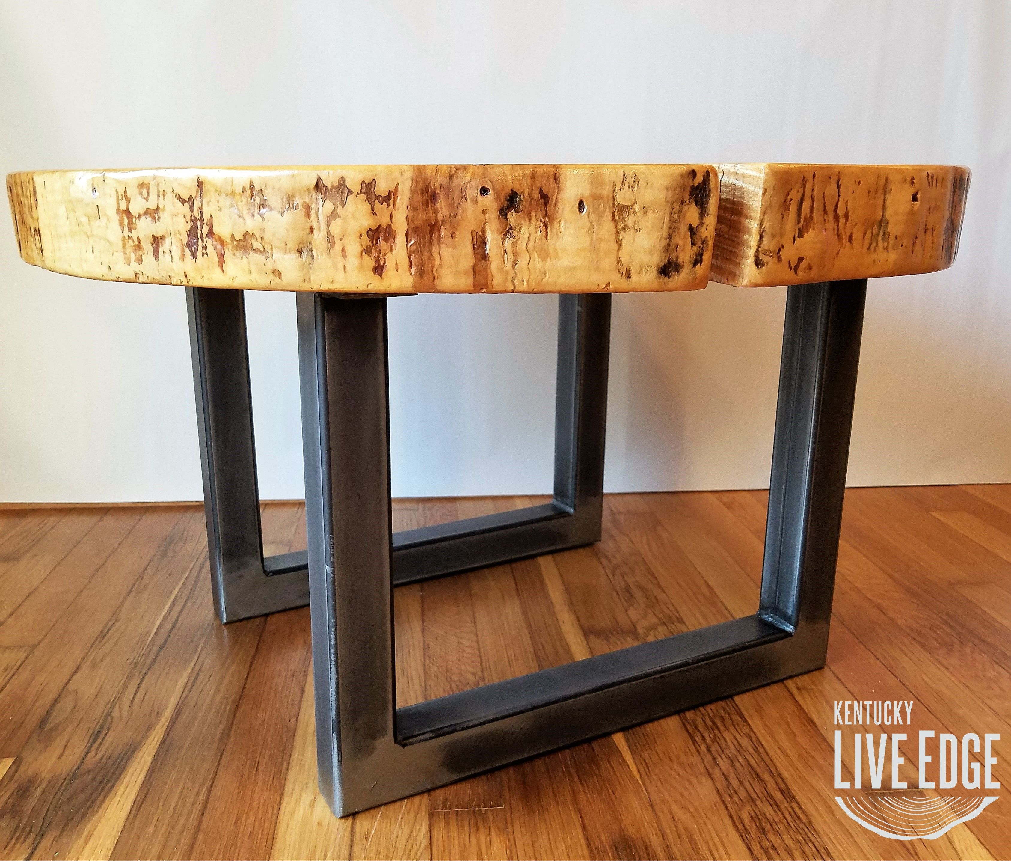 Rustic Wood Slice Coffee Table: Hand Crafted Round Coffee Table- Live Edge- Industrial