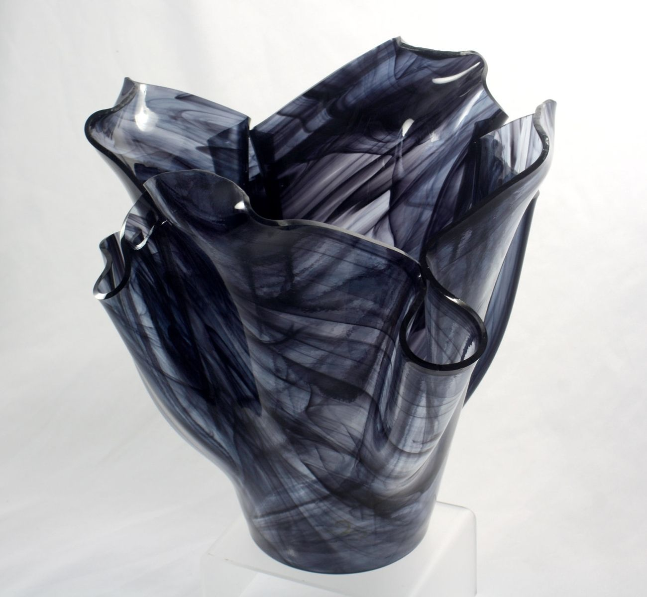 Buy a custom wispy black fused glass vase made to order from jm custom made wispy black fused glass vase reviewsmspy