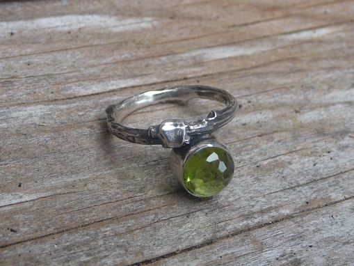 Custom Made Sterling Silver Peridot Twig Ring.