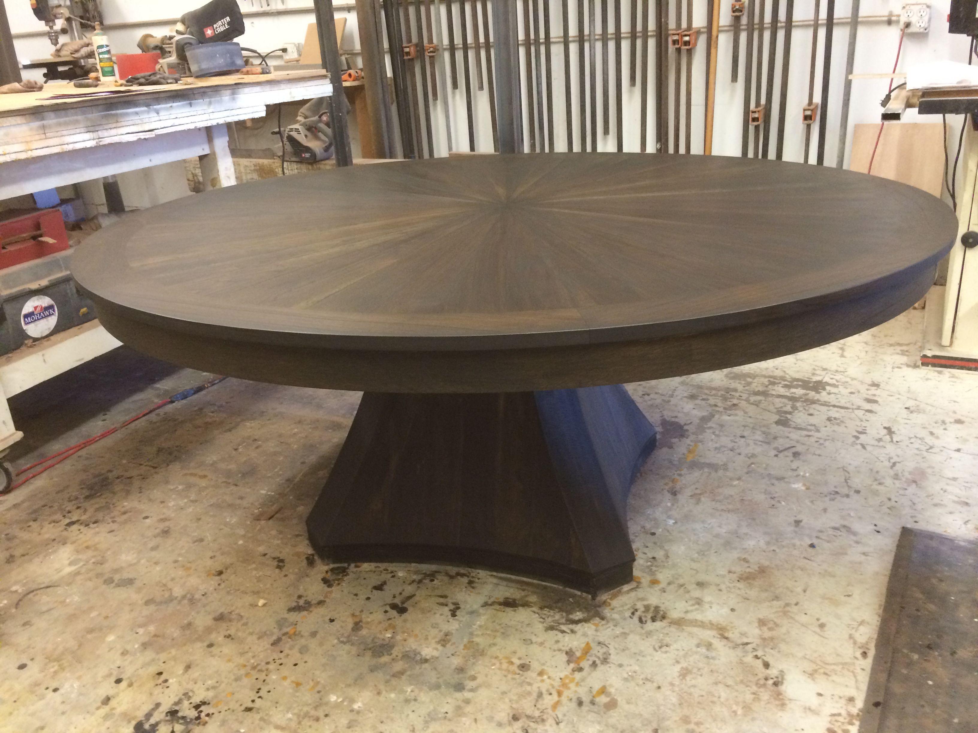 Hand Crafted Custom Dining Table Walnut Sunburst Round Pedestal Table By Santini Custom Furniture Custommade Com