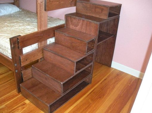 Custom Made Staircase Storage Cubbie With Desk