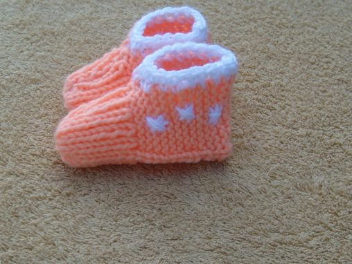 Custom Made Storewide Sale - Peach And White Baby Knitted Slippers