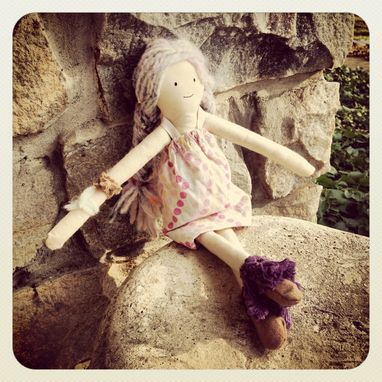 Custom Made Rag Doll Organic Cotton Muslin /Plant Dyed /Up-Cycled / Vintage Clothing