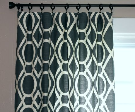 Custom Made Curtain Panels Robert Allen Lattice Bamboo Trellis Custom Drapes In Greystone Gray Grey 96l X 50w
