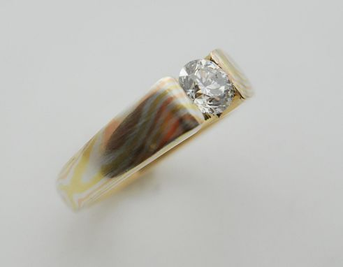 Custom Made Unetched, Brushed Red, Yellow And Sterling Silver Layered Mokume Gane With Moissanite