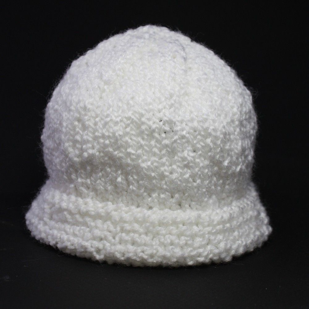 Hand Made Knit Baby Hat Cap Classic White Infant Warm by Spinning ... 2d05ae3f2d6