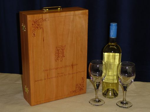 Custom Made Custom Wine Box With Sandcarved Wine Bottle And Glasses