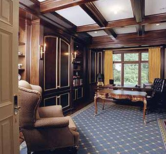 Custom Made Office - Library Cabinets Paneling And Coffered Ceiling