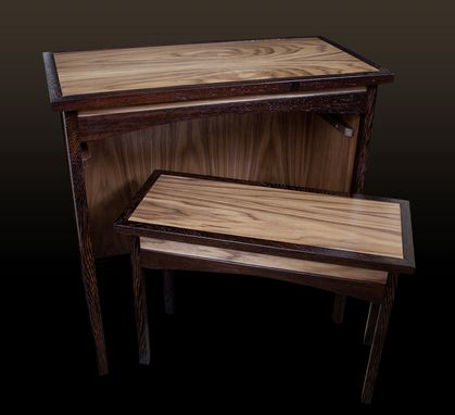Custom Made Wenge & Walnut Shaker Sofa Table & Hideaway Bench