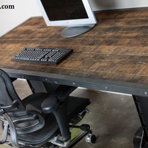 reclaimed wood office furniture. Sit/Stand Desk. Adjustable Height. (Sit To Stand)., Reclaimed Wood. Urban. Modern. Industrial Table. Wood Office Furniture F