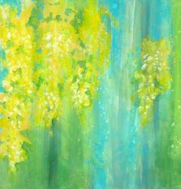 "Custom Made Yellow Flowers Original Abstract Painting-Laburnum 18""X18"" Yellow Blue Green"