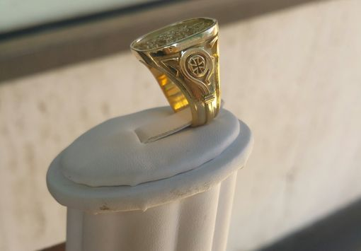 Custom Made Bishop Crest Ring 18 Kt. Yellow Gold