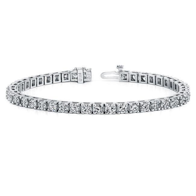 Custom Made Diamond Eternity Bracelet In 14k White Gold 3 Ct Tw