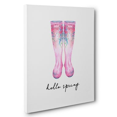 Custom Made Hello Spring Rain Boots Canvas Wall Art
