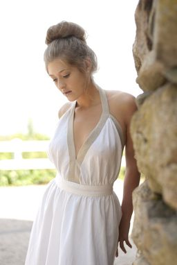 Custom Made Backless Dress In White Linen / Taupe Linen Border