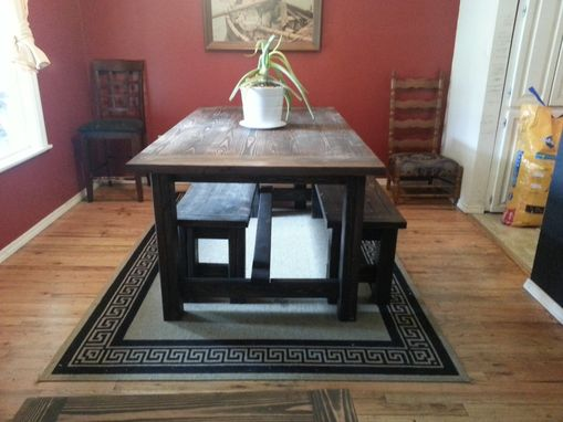 Custom Made Farmhouse Dining Table With Benches