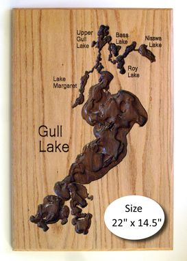 Custom Made Decorative Carved Lake Maps