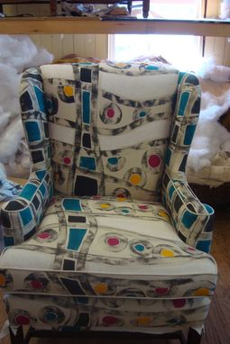 Custom Made Wing Chair With Abstract Geo Print - Part 2