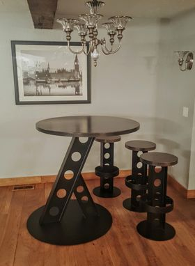 Custom Made Industrial Bar Table Made With I-Beams And Maple Wood
