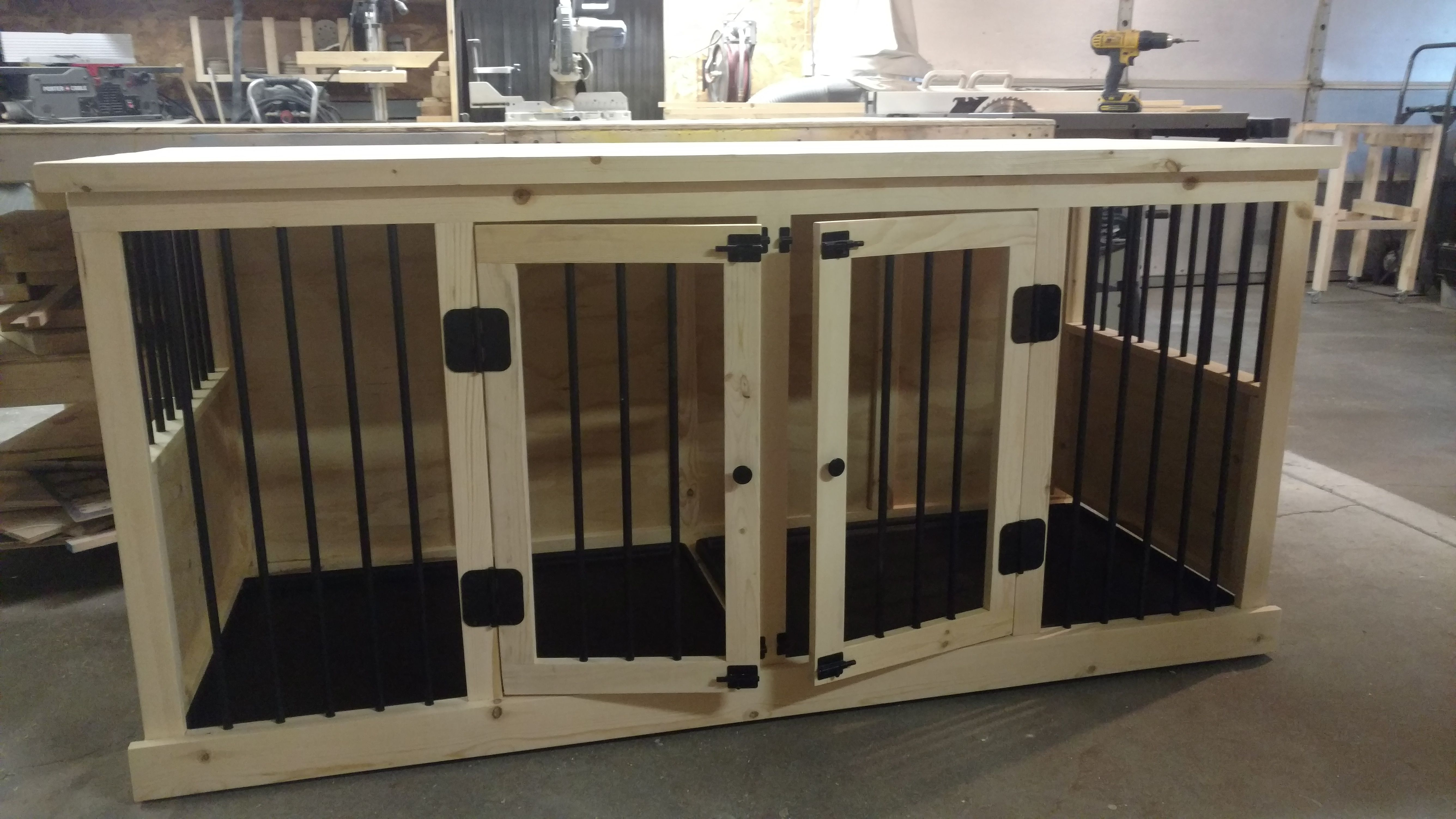 Buy A Handmade Custom Dog Crate Furniture Double Large Made To
