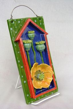 Custom Made Yellow Poppy With Pods In A 3-D House Framed Wall Hanging