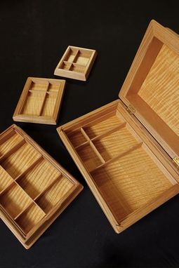 Custom Made Jewelry Box In Red Oak, African Satinwood, And Ebony