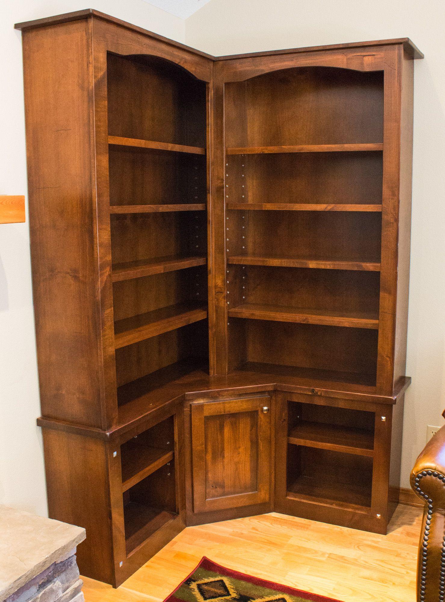 Handmade Rustic Alder Custom Corner Bookcase By Brushbacks