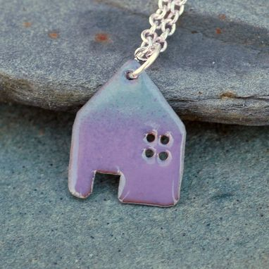 Custom Made Enamel House Pendant Copper Home Necklace Enameled Jewelry - Lavender And Gray