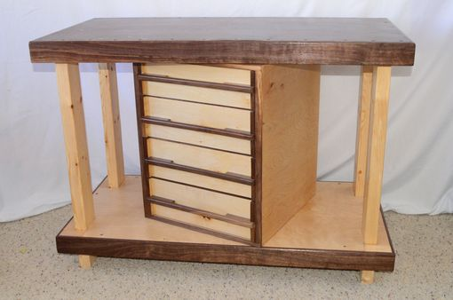 Custom Made Walnut And Maple Work Table With Drawers