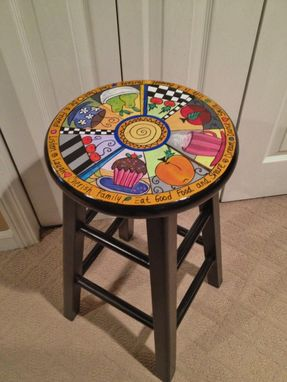 "Custom Made Custom Hand Painted 29"" Wooden Round Top Bar Stool - Kitchen - Wine"