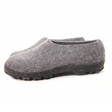 Custom Made Men's Eco-Friendly Wool Moccasin Slippers Gray