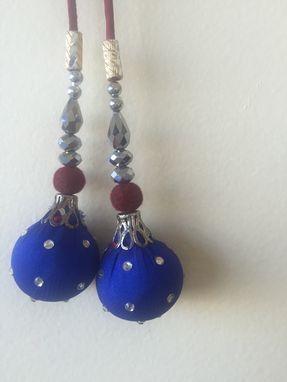 Custom Made Blue Silk Hanging Balls With Crystal Stones,Silver Beads On  Silk Fabric,Could Be Hanged In Thread .