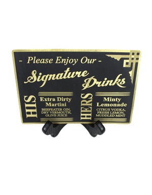 Custom Made Brass & Chalkboard Black Bar Sign