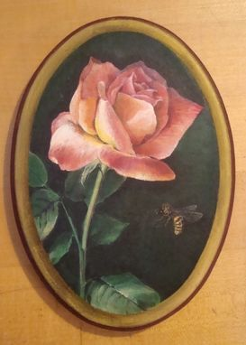 Custom Made Pink Rose Painted In Acrylics On Wood
